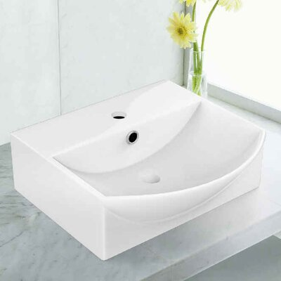 Rectangular Vessel Bathroom Sink with Overflow Faucet Mount: Single Hole