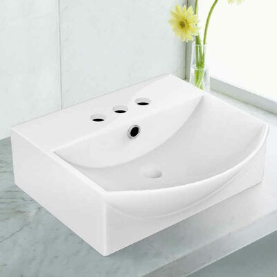 Ceramic Rectangular Vessel Bathroom Sink with Overflow Faucet Mount: 4 Centers