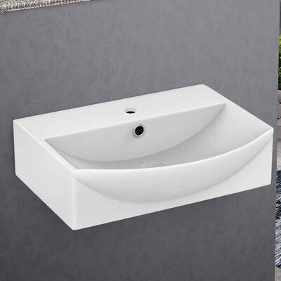 Wall Mount Bathroom Sink with Overflow Faucet Mount: Single Hole
