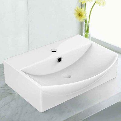 Rectangular Vessel Bathroom Sink with Overflow Faucet Mount: Single Hole