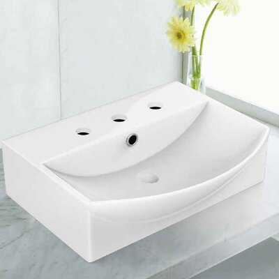 Ceramic Rectangular Vessel Bathroom Sink with Overflow Faucet Mount: 8 Centers