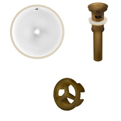 Ceramic Circular Undermount Bathroom Sink with Overflow Drain Finish: Antique Brass