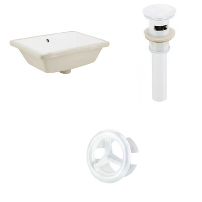 Ceramic Rectangular Undermount Bathroom Sink with Overflow Drain Finish: White