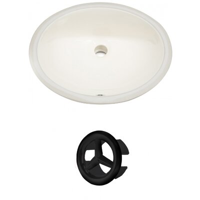 Oval Undermount Bathroom Sink with Overflow Drain Finish: Black