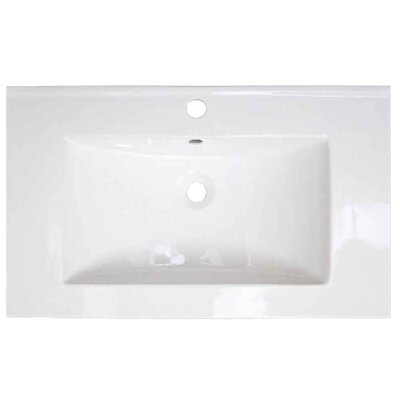 Flair Ceramic 49 Single Bathroom Vanity Top Faucet Mount: 4 Centers