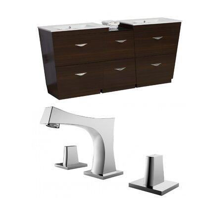 Kao Floor Mount 56 Double Bathroom Vanity Set Faucet Mount: 8 Centers