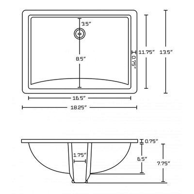 Ceramic Rectangular Undermount Bathroom Sink with Overflow Sink Finish: Biscuit, Drain Finish: Antique Brass