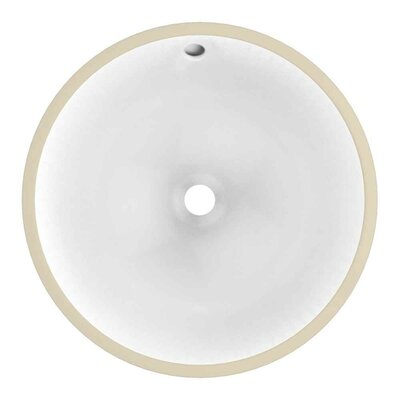 CUPC Ceramic Circular Undermount Bathroom Sink with Faucet and Overflow Sink Finish: White, Size: 15.25 H x 15.25 W x 10.43 D