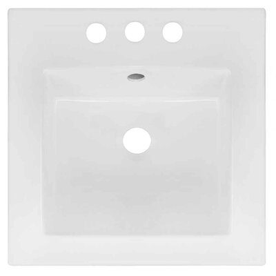 Ceramic Square Drop-In Bathroom Sink with Faucet and Overflow Faucet Mount: 4 Centers, Drain Finish: Black