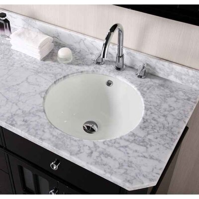 CUPC Ceramic Circular Undermount Bathroom Sink with Faucet and Overflow Sink Finish: Biscuit, Size: 15.50 H x 15.50 W x 7.5 D