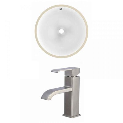 CUPC Ceramic Circular Undermount Bathroom Sink with Faucet and Overflow Sink Finish: White, Size: 15.25 H x 15.25 W x 7.5 D