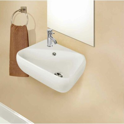 Ceramic Specialty Bathroom Sink with Faucet and Overflow Installation Type: Wall Mount