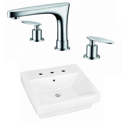 Ceramic Rectangular Bathroom Sink with Faucet and Overflow Installation Type: Semi-Recessed