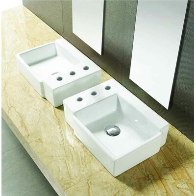 Ceramic 16.25 Bathroom Sink with Faucet and Overflow Installation Type: Vessel Sinks