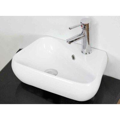 Ceramic Specialty Bathroom Sink with Faucet and Overflow Installation Type: Above Counter