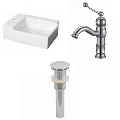 Ceramic Rectangular Bathroom Sink with Faucet Installation Type: Wall Mount