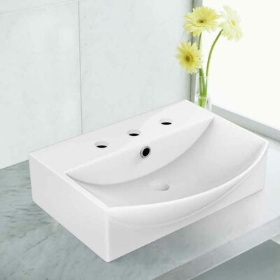 Cera Rectangular Bathroom Sink with Faucet and Overflow Installation Type: Above Counter