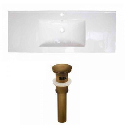 Flair Ceramic 48 Single Bathroom Vanity Top Faucet Mount: Single, Drain Color: Antique Brass