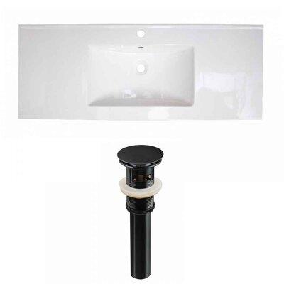 Flair Ceramic 48 Single Bathroom Vanity Top Faucet Mount: Single, Drain Color: Black