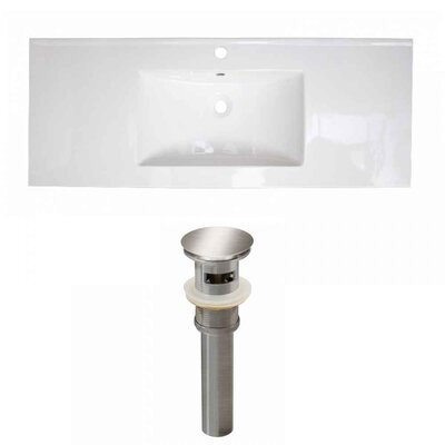 Flair Ceramic 48 Single Bathroom Vanity Top Faucet Mount: Single, Drain Color: Brushed Nickel