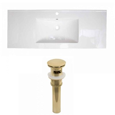 Flair Ceramic 48 Single Bathroom Vanity Top Faucet Mount: Single, Drain Color: Gold