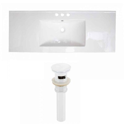 Flair Ceramic 48 Single Bathroom Vanity Top Faucet Mount: 4 Centers, Drain Color: White