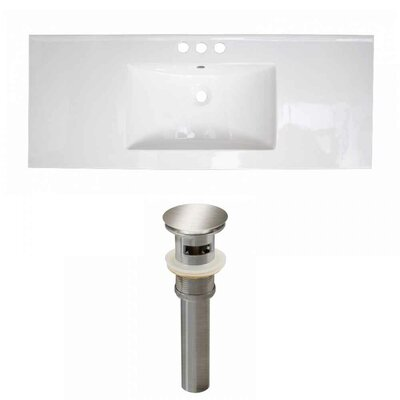 Flair Ceramic 48 Single Bathroom Vanity Top Faucet Mount: 4 Centers, Drain Color: Brushed Nickel