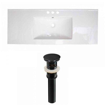 Flair Ceramic 48 Single Bathroom Vanity Top Faucet Mount: 4 Centers, Drain Color: Black