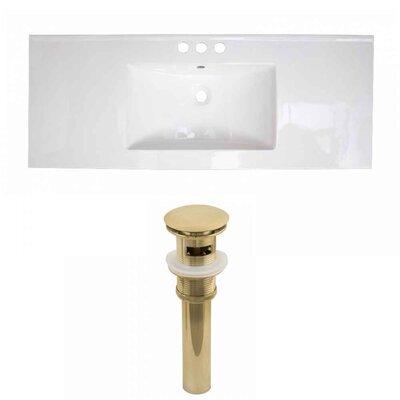 Flair Ceramic 48 Single Bathroom Vanity Top Faucet Mount: 4 Centers, Drain Color: Gold