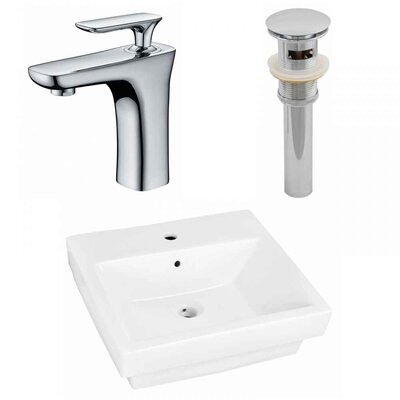 Ceramic Rectangular Bathroom Sink with Faucet and Overflow Installation Type: Vessel Sinks