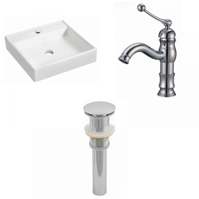 Ceramic 17.5 Wall Mount Bathroom Sink with Faucet