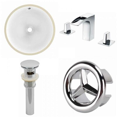 CUPC Ceramic Circular Undermount Bathroom Sink with Faucet and Overflow Sink Finish: White, Size: 15.25 H x 15.25 W x 9 D