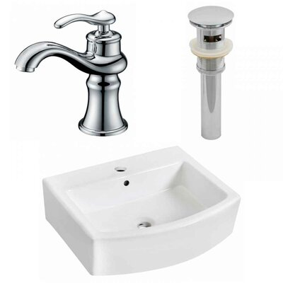 Ceramic 22 Wall-Mount Bathroom Sink with Faucet and Overflow