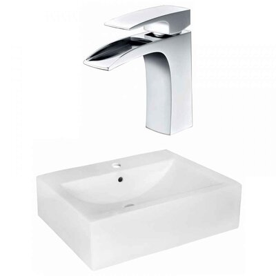 Xena Farmhouse Semi-Recessed Ceramic 20.25 Wall Mount Bathroom Sink with Faucet and Overflow