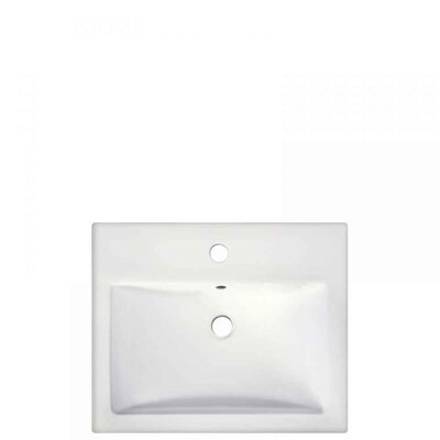 1 Hole Ceramic Rectangular Drop-In Bathroom Sink with Faucet