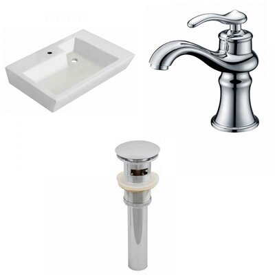 Ceramic 26 Wall-Mount Bathroom Sink with Faucet and Overflow
