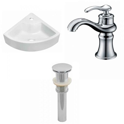 Ceramic 26 Wall-Mount Bathroom Sink with Faucet