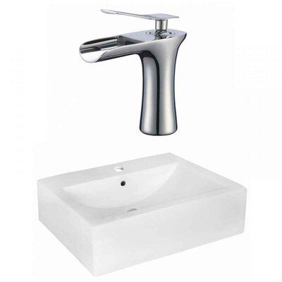 Xena Farmhouse Semi-Recessed Ceramic Rectangular Vessel Bathroom Sink with Faucet and Overflow