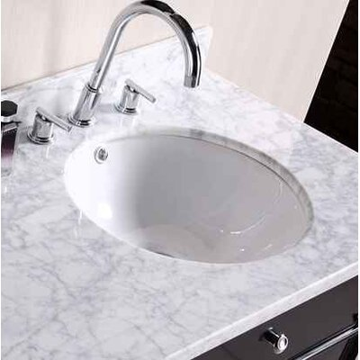 CUPC Ceramic Circular Undermount Bathroom Sink with Faucet and Overflow Sink Finish: Biscuit, Size: 15.50 H x 15.50 W x 9 D