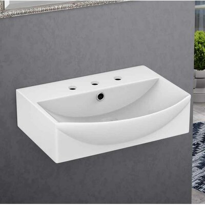 Ceramic 19.5 Bathroom Sink with Faucet and Overflow Installation Type: Wall Mount Sinks