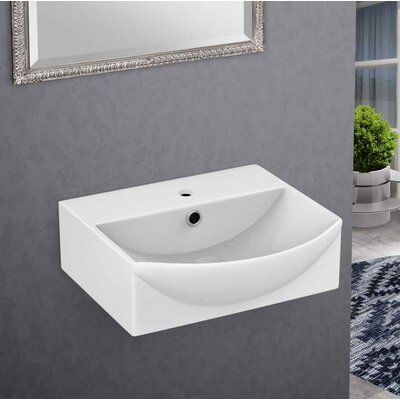 Ceramic 13.75 Bathroom Sink with Faucet and Overflow Installation Type: Wall Mount Sinks