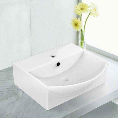 Ceramic 13.75 Bathroom Sink with Faucet and Overflow Installation Type: Vessel Sinks