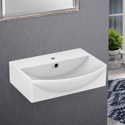 Xena Farmhouse Ceramic 19.5 Bathroom Sink with Faucet and Overflow Installation Type: Wall Mount Sinks