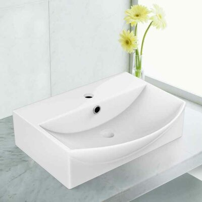Ceramic 19.5 Bathroom Sink with Faucet and Overflow Installation Type: Vessel Sinks