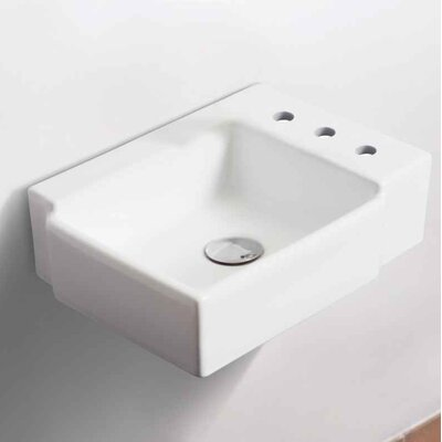 Ceramic 16.25 Bathroom Sink with Faucet and Overflow Installation Type: Wall Mount Sinks