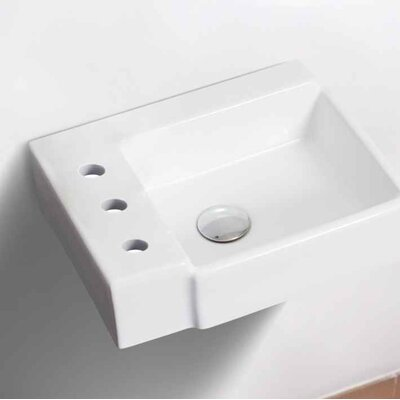 Ceramic 16.25 Bathroom Sink with Faucet Installation Type: Wall Mount Sinks