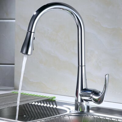 Single Handle Deck Mounted Kitchen Faucet with Spray Head Finish: Brushed Nickel
