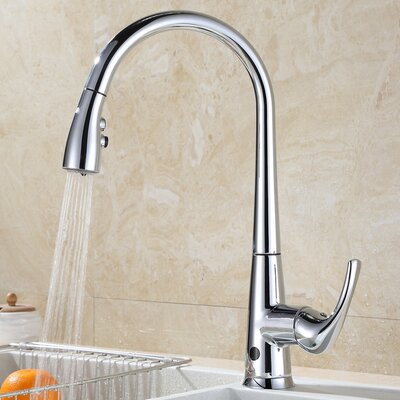 Pull Down Touchless Single Handle Kitchen Faucet Finish: Chrome Plated