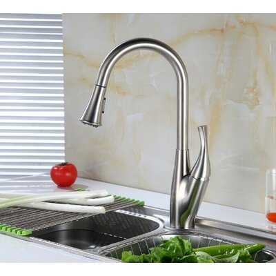 Single Handle Deck Mounted Kitchen Sink Faucet with Pull Down Spray Finish: Brush Nickel