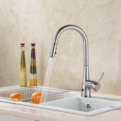 Touchless Single Handle Deck Mounted Kitchen Faucet with Spray Head Finish: Brushed Nickel